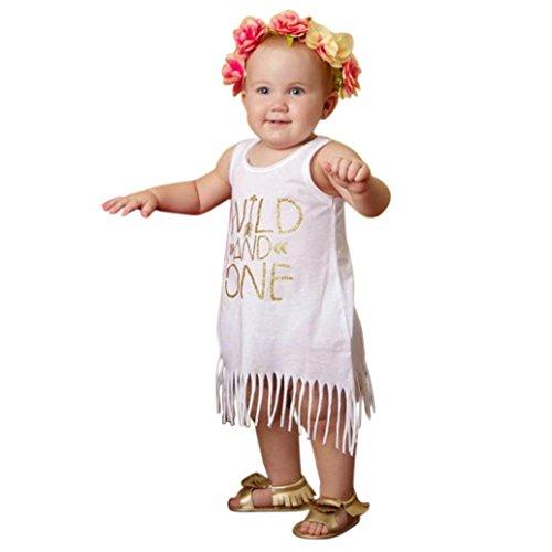 Culater® Capretto del bambino vestiti delle ragazze Lettera Stampa Frecce abito nappe maglia del vestito Outfits