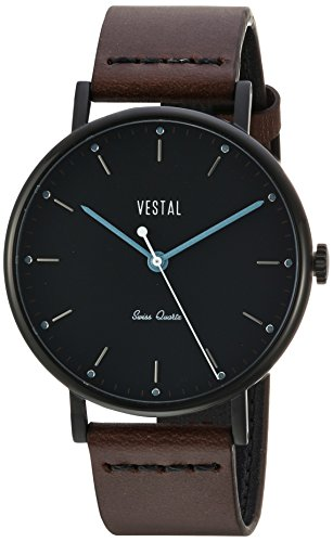 Vestal Men's Sophisticate' Swiss Quartz Stainless Steel and Leather Dress Watch, (Model: SPH3L07) One Size Brown