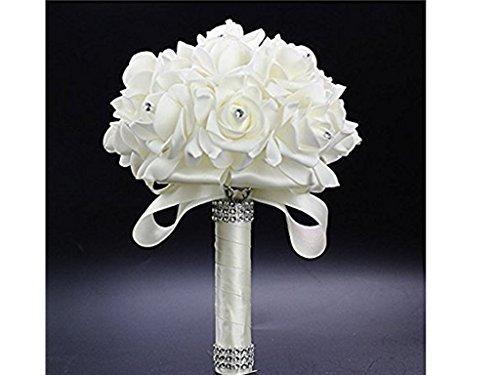 StillCool® shifashionshop Romantische Hochzeit Bunte Künstliche Blumenstrauß der Braut (18cm*24cm, Cremeweiß)