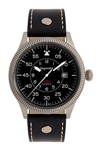 Gigandet G8–006–Montre pour hommes, bracelet en cuir couleur noir