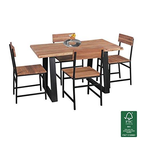 Esstisch Baumkante Esszimmertisch Massivholz Akazie Natur 120 x 60 x 76 cm Baumstamm Küchentisch mit Metallgestell Schwarz