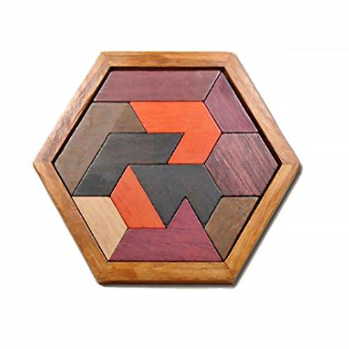 Rocita Holz Hexagon Tangram Puzzles Holzpuzzle Spiel Für Kinder und Erwachsene Klassische Handgemachte Denkaufgabe Logic Puzzle Lernspielzeug