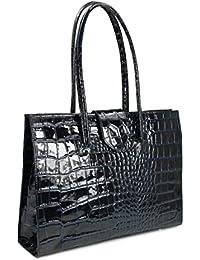 Belli ® «c» design sac à main en cuir bleu foncé crocodile vernis 40 x 30 x 10 cm (l x h x p)