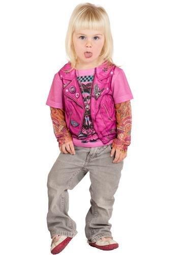Faux Real - Pink Biker Girl Longsleeve-S (Biker Girl Kostüm Kinder)