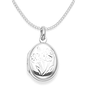 Sterling Silber Kinder- Medaillon auf 38cm Kette . Blumen Medaillon – Größe : 17mm x 14mm (Klein für Kinder). Herzen geschenkbox & herz geschenk tag