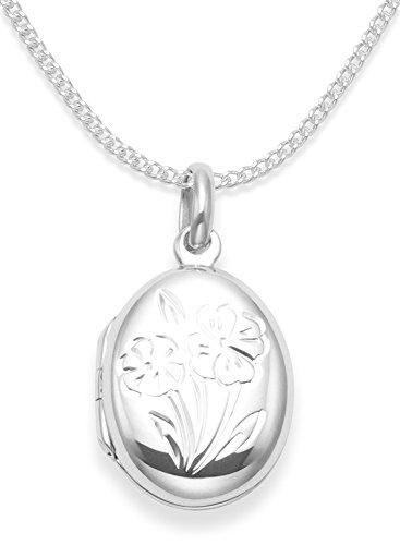 Sterling Silber Kinder- Medaillon auf 38cm Kette . Blumen Medaillon - Größe : 17mm x 14mm (Klein für Kinder). Herzen geschenkbox & herz geschenk tag