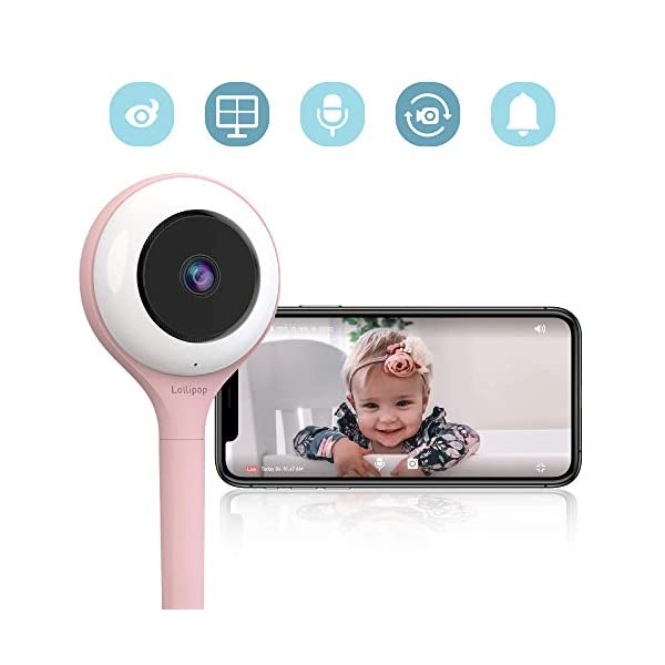 Lollipop HD WiFi Video IP Indoor Camera for Baby, Compatible with iOS & Android, Supports 2 Cameras and Up, Night Vision,2-Way Talk Back- Baby Boy Girl Shower Gifts (Cotton Candy) Lollipop ★【FAST AND EASY TO SET UP】Lollipop baby camera is compatible with both iOS and Android systems. So setting up the camera is fast and easy! Simply connect your baby camera to your phone using our app Lollipop. ★【ADVANCED NIGHT VISION】Worried about baby sleeping in his own room? Watch your baby at night with our advanced infrared night vision! ★【MULTI-STREAMING】Want to keep an eye on more than 1 kid? Watch everywhere at the same time with our multi-streaming feature! You can add as many cameras as want (Additional cameras sold separately). 1