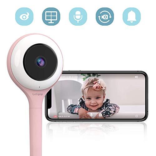 Lollipop camera, HD-WLAN-Baby/Haustier-Überwachungskamera (Zuckerwatte), unterstützt 2 Kameras/Nachtsicht/Geräusch- und Schreierkennung/2-Wege-Kommuinikation, Wandmontage