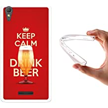 Funda Sony Xperia T3, WoowCase [ Sony Xperia T3 ] Funda Silicona Gel Flexible Keep Calm and Drink Beer, Carcasa Case TPU Silicona