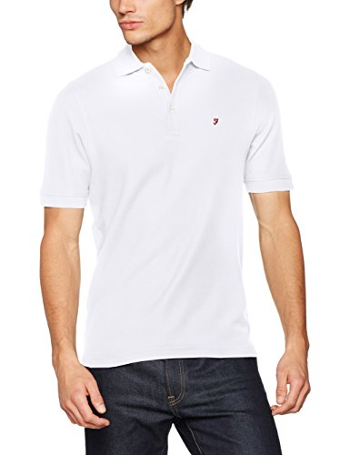 Farah Mens Neue Designer Casual Bucht Polo-Shirts Schwarz Weiß