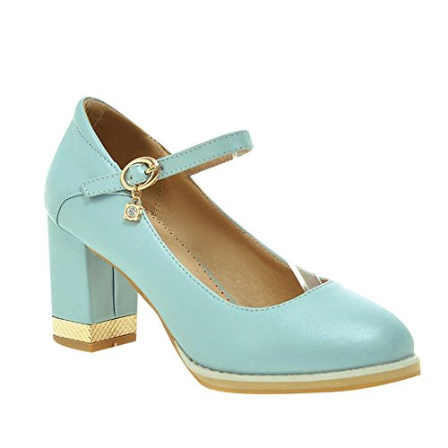Mee Shoes Damen chunky heels Schnalle runde Pumps (43, Weiß)