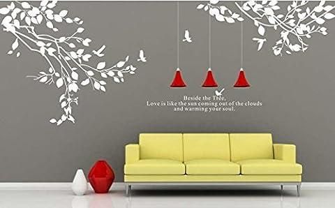 Blanc/arbre Wall Sticker murale Citation famille Stickers oiseaux pour chambre
