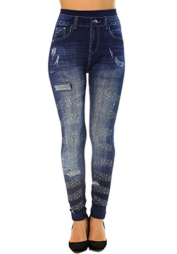 Dmarkevous leggings dimagrante donna blu navy stile jeans vita alta con strass e effetto usé. effetto push-up.–unica, blu navy