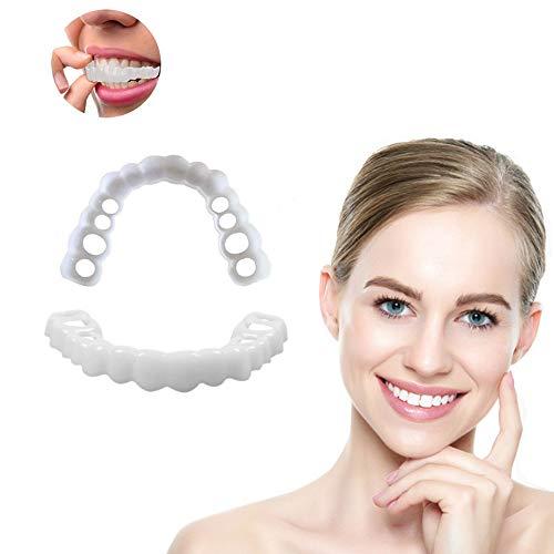 XDXDO 6 Stücke Zahnaufhellung Kosmetische Erwachsene Snap on Perfekte Lächeln Whitening Prothese Fit Zähne Komfortable Abdeckung Zahnpflege Zubehör (oberen und unteren zähne) -
