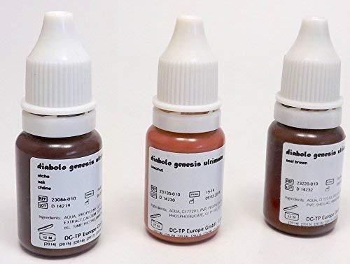 DIABOLO GENESIS Farbset 08 BRAUN 3x10ml - deutsche Tattoofarbe mit Zertifikat - INKgrafiX® IG05724 Tattoo INK Brown