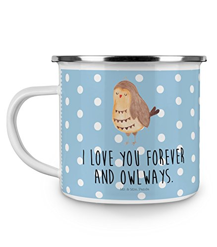 Mr. & Mrs. Panda Kaffeebecher, Outdoor Tasse, Camping Emaille Tasse Eule Zufrieden mit Spruch - Farbe Blau Pastell (Tasse Kaffee Eule Blaue)