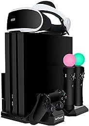 Verbesserte ieGeek PSVR Ladestation, PS4 Pro / PS4 Slim / PS4 [All-in-1] Vertikaler Standfuß Kühler Lüfter, La