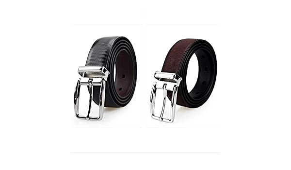 H-M-STUDIO MenS Belts Tricolor Double Sided Rotary Buttons Simple Business Casual MenS Business Belts Bright Color 110-130Cm