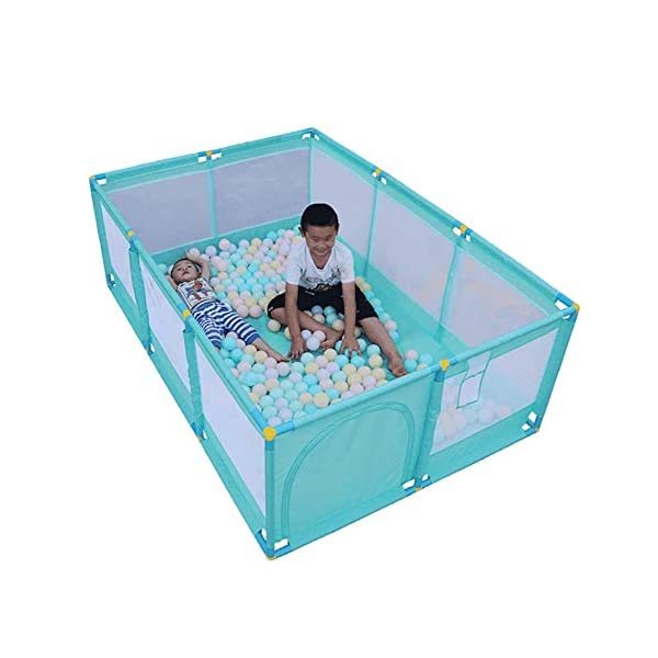 Large Green Children Palypen, Protable Baby Safety Play Center Yard for Indoor Outdoor,190×128×66cm (Size : Playpen+mat+ball) Playpens  8