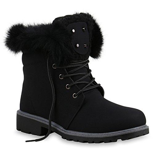 Worker Boots Warm Gefütterte Damen Herren Stiefeletten Stiefel Zipper Kunstfell Outdoor Schuhe 128537 Schwarz Gold Fell 36 Flandell