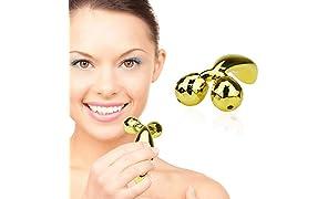 TBPHP 3D Rodillos Masajeadores Faciales, Masajeador Roller Tools Anti Aging Belleza Natural Dispositivo Herramienta Reafirmantes para Estiramiento Facial en forma de V, Adelgazamiento del Cuerpo