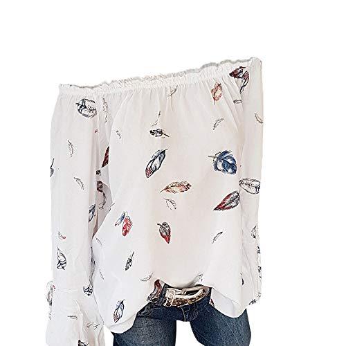 ESAILQ Frauen Mädchen Strapless Star Sweatshirt Langarm Crop Jumper Pullover Tops (S, Weiß-2)