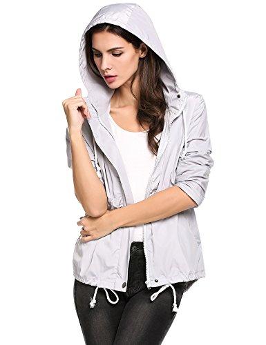 Zeagoo Damen Regenjacke Kapuzejacke Wasserdicht Übergangsjacke Windbreaker Funktionsjacke Leicht Regenmantel mit Taschen Style1-Grau
