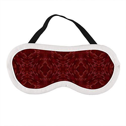 Schlafmaske, Augenmaske, Augenbinde, bequem, kein Druck für Männer, Frauen, Reisen, Arbeit, dunkles Kastanienbraun, dreieckiges Muster, Kaleidoskop, Symmetrie anpassbar -