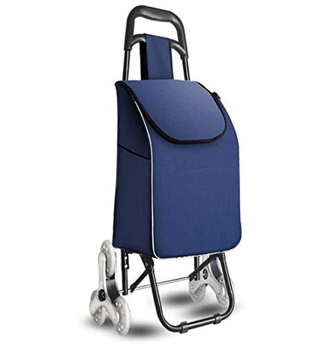 QIANGDA-Handwagen Einkaufstrolley Faltbar Einkaufswagen Rolling Utility Cart Stufen Steigen Verschleißfest Radialer Design-Griff, Höhe 91cm,9 Farben (Farbe : Dunkelblau)