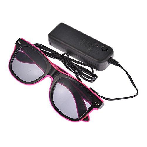 duhe189014 Standard-Leucht-LED-Brille EL Draht Fashion Neon Kaltlicht Sonnenbrille für Tanzen Party Bar Meeting Glow Rave Kostüm Atmosphere Activing DJ Bright Reps D:Cocoa Powder