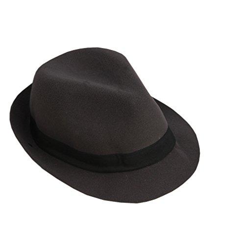 ACVIP Rétro Femme Homme Chapeau Fedora Trilby Feutre Drap à Bords Roulés Bonnet Casquette Hiver Gris Foncé