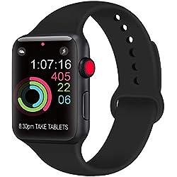AK Compatible Apple Watch Bracelet 42mm 38mm 44mm 40mm, Bracelet de Sport en Silicone Remplacement Compatible la série 4, la série 3, la série 2 et la série 1 d'iWatch (01 Noir, 42/44mm M/L)