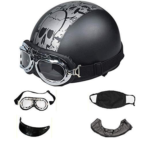 LWA Casco retrò in Stile Vintage con Occhiali da Aviatore, Rivestito in Pelle,A