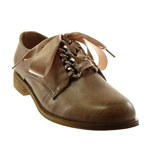 Angkorly Damen Schuhe Derby-Schuh - Schnürsenkel Aus Satin - Kette Blockabsatz 2.5 cm Rosa
