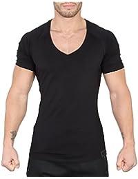 SMILODOX T-Shirt Herren mit V-Ausschnitt | Basic V-Neck für Sport Fitness Gym & Freizeit | Regular T-Shirt Kurzarm - Schlichtes Design - Leichtes Casual Shirt