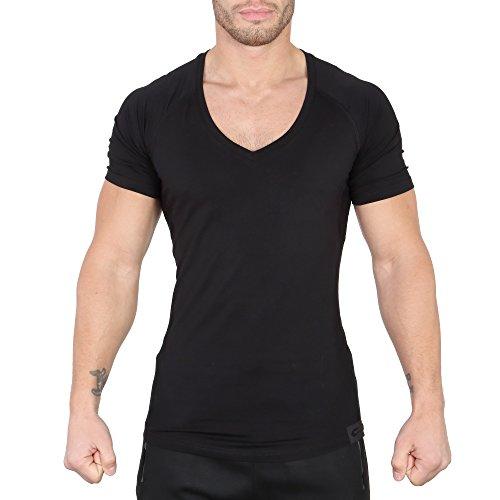 SMILODOX T-Shirt Herren mit V-Ausschnitt | Basic V-Neck für Sport Fitness Gym & Freizeit | Regular T-Shirt Kurzarm - Schlichtes Design - Leichtes Casual Shirt, Farbe:Schwarz, Größe:L (Casual T-shirt V-neck)