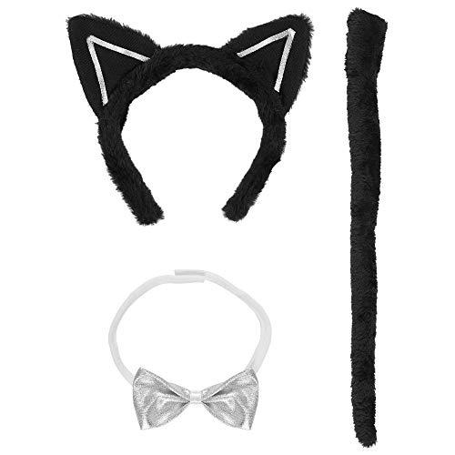 Schwanz Katze Und Ohren Weiße Kostüm - Widmann 5463H - Kostümset Katze, Fliege, Ohren und Schwanz, Universalgröße