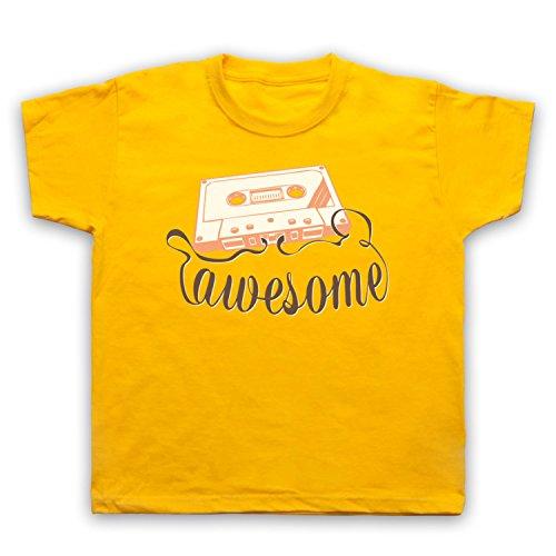 My Icon Art & Clothing Cassette Tape Awesome Text Camiseta para Niños, Amarillo, 7-8 Años