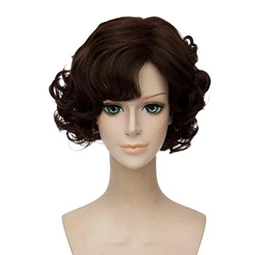Top Cosplay Dark Brown Short Curly Wig für Cosplay Heat (Perücke Curly Brown)