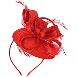 MagiDeal Tocado para Mujeres de Gatsby Grande con Pinza de Pelo Año 20s para Fiesta de Té - Rojo