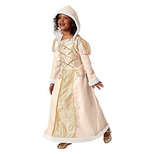 Schnee Königin Snow Queen Kinder Mädchen Kostüm Kleid mit Hoodie Kapuze mit Reifrock Weiß Gold aus kuschligem Fleece (Large 134-152)