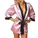 GLOGLOW Bata de Noche erótica, Bata de Noche de lencería Sexy de Babydolls de Seda para Mujer(Rosa)