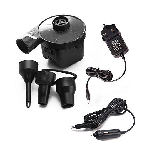 (PDR Air Pumpe, Home Auto Hochdruck Pumpe mit Doppeltem Verwendungszweck Tragbar 3Düsen für Air Kissen, aufblasbare Boote, Freizeit Pool (UK))