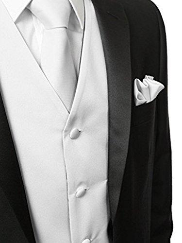 Herren 3 Stueck Weste NeckTie Tasche Square Set fuer Anzug oder Smoking von Judi Dench Weiß