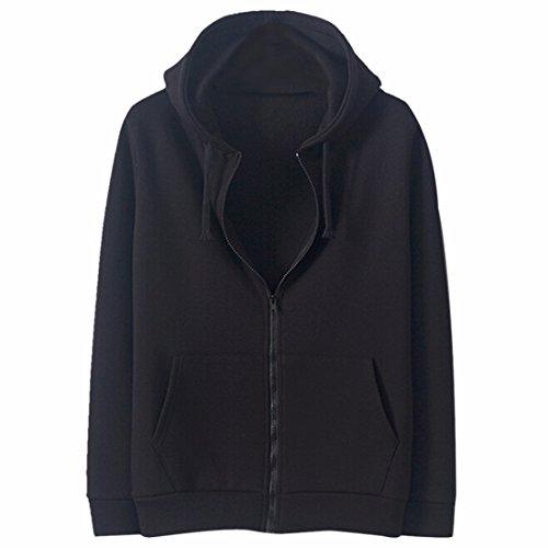 QIYUN.Z Mens Solides Poches De Couleur Hoody Sweatshirts A Fermeture Eclair