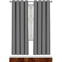 Utopia Bedding Cortina Opaca - Cortinas Aislantes Térmicas - Juego de 2 Paneles con Ojales - (140 x 245 cm, Gris)