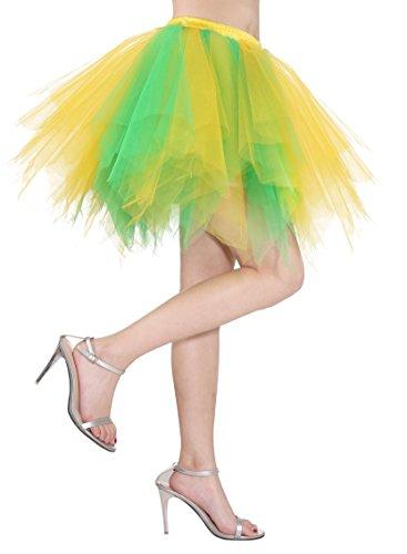 Dressystar Petticoats Minirock Kurz Unterrock Tutu Unregelmäßig Tüll Damen Mädchen Ballettrock Multi-Schichten Grün Gelb
