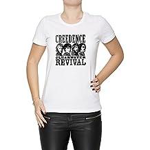 Creedence Clearwater Revival Mujer Camiseta Cuello Redondo Blanco Manga Corta Todos Los Tamaños Womens White