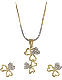 Lady Touch American Cz White Diamond Gold Plated Flower Pendant Set With Earrings For Girls And Women's (Free...