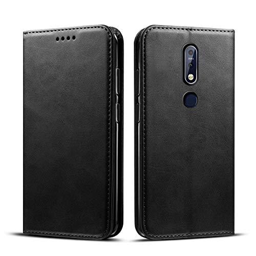 Banath Hülle für Nokia 3.1 Plus (Nokia X3) PU Leather Cover Lederhülle, Handy Schutzhülle PU Leder Brieftasche[Stoßfest][Kreditkarten Slot] Leder Lip Cover(Schwarz)